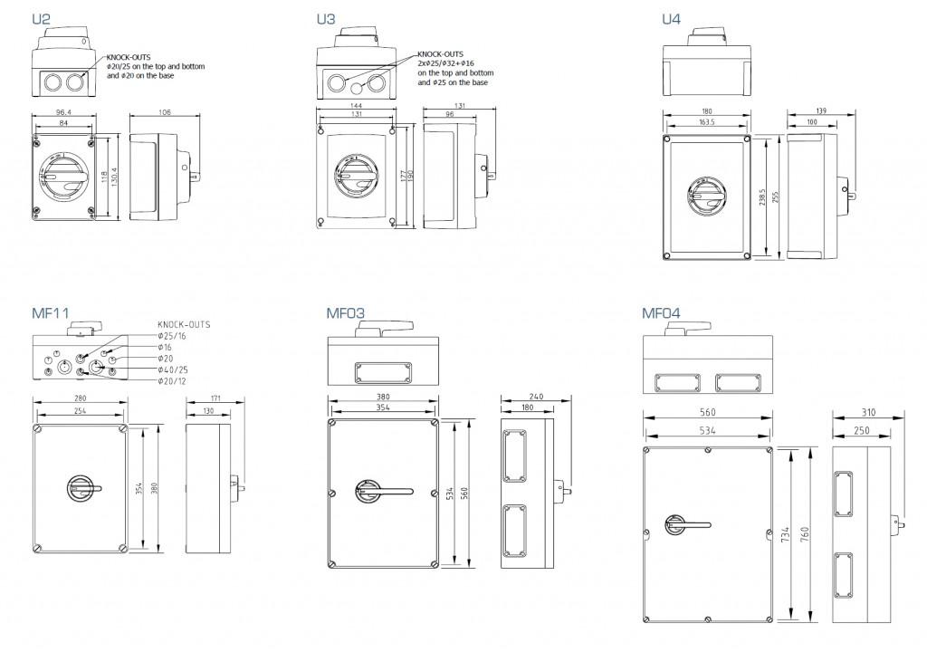Volitelné velikosti krytů bezpečnostních odpínačů KEM